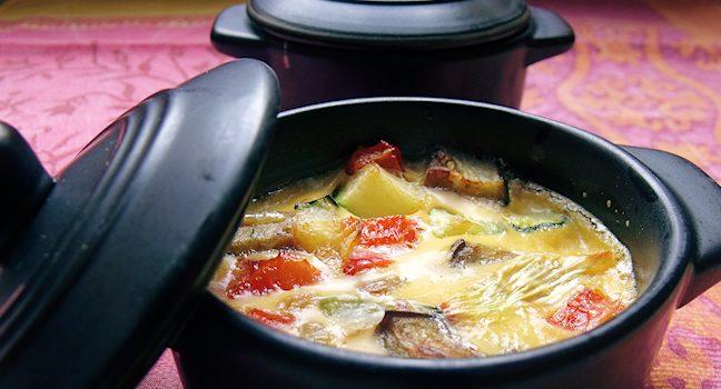 Une cocotte de flan léger de légumes