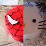 Gâteau Hello Kitty et Gâteau Spiderman en pâte à sucre
