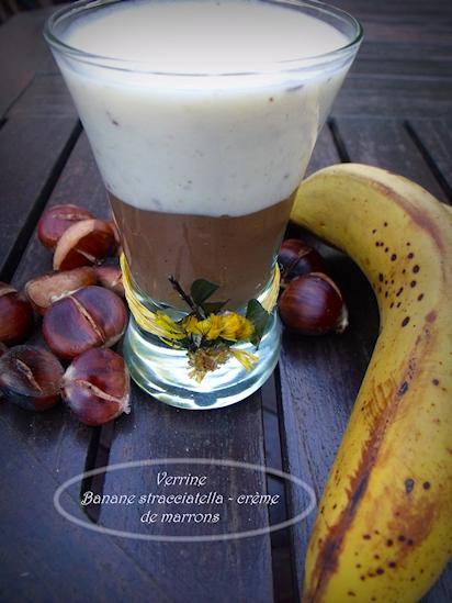 une verrine express à la banane et crème de marrons