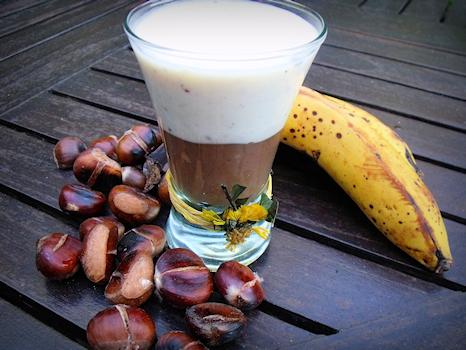 La banane et la crème de marrons se marient très bien dans ces verrines