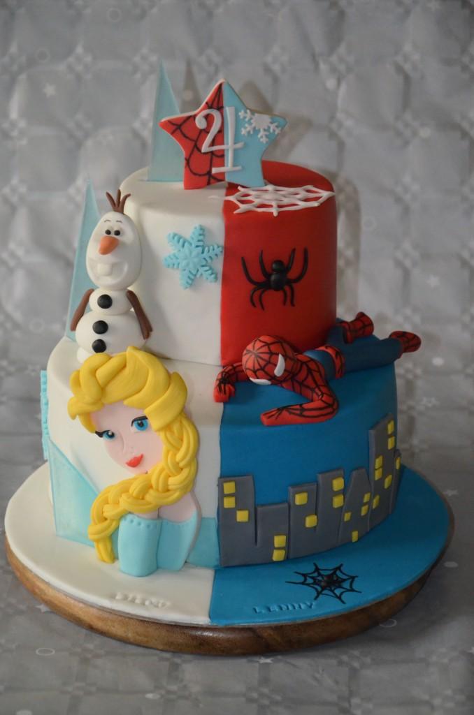 gâteau double thème Reine des neiges-Spiderman (1)