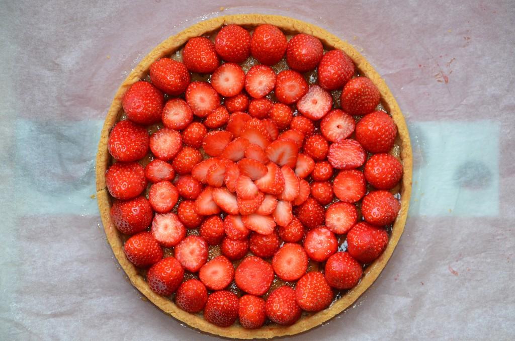 tarte aux fraises et crème amandes