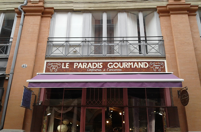 Devanture boutique le Paradis Gourmand à Toulouse