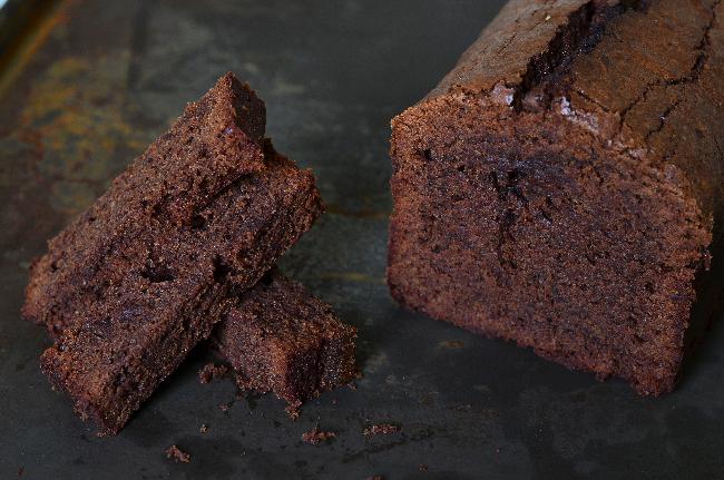 un cake au chocolat d'après une recetted de Christophe Felder