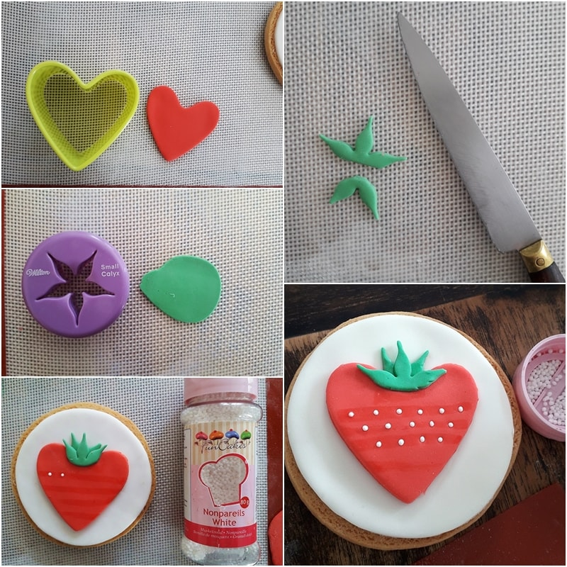 Tutoriel photo pour décorer un biscuit avec de la pâte à sucre sur le thème de la fraise