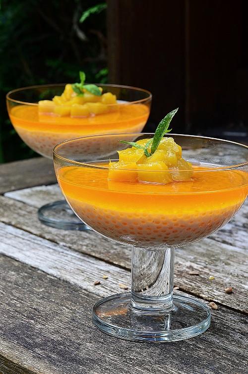 Idée pour utiliser des perles du Japon en dessert avec ces verrines à la mangue et vanille