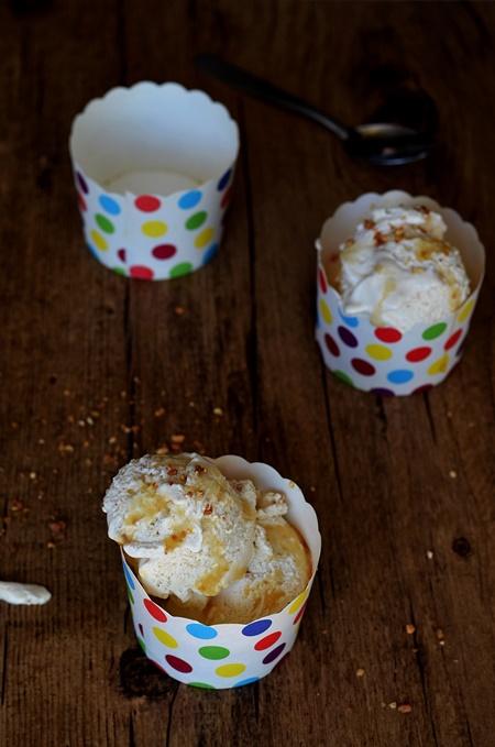 3 pots de glace maison au sirop d'érable et pralin