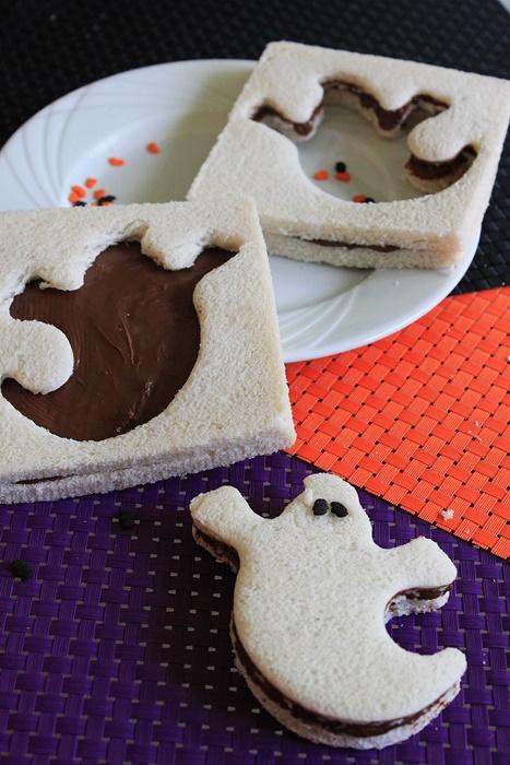 recette facile d'halloween : sandwich fantome